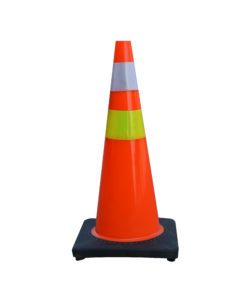 Traffic Cone PVC Black Base 90 Cm Pembatas Jalan Raya
