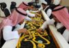 Gold, silver threads adorn kiswah calligraphy