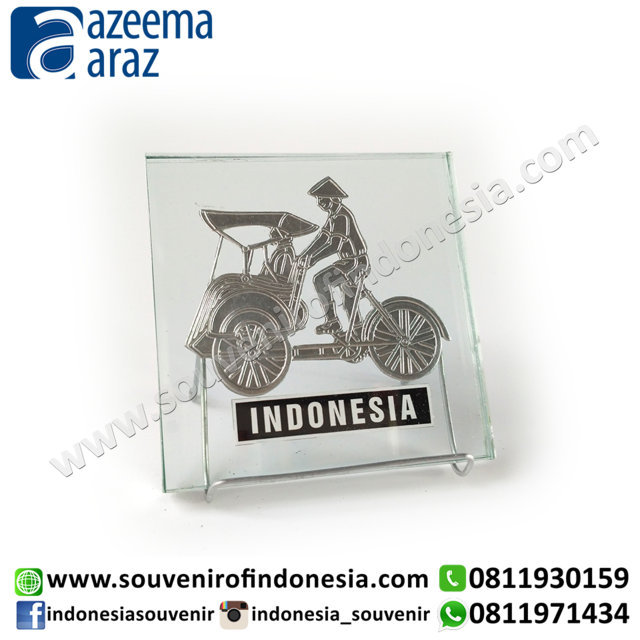 Souvenir Becak Pajangan Meja Kaca Perak (Glass Silver Becak Desk Accessories)