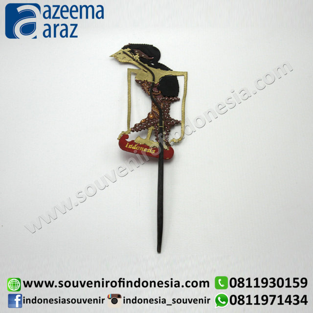 Souvenir Etnik Pembatas Buku Wayang Kulit Tangkai Besar Exclusive (Indonesia Souvenir Leather Puppet Bookmark Exclusive with Holder )
