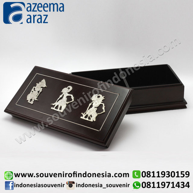 Souvenir Indonesia Box Multifungsi Kayu Wayang Logam Sekat L (Multi Function Puppet Wooden Box with Partition)