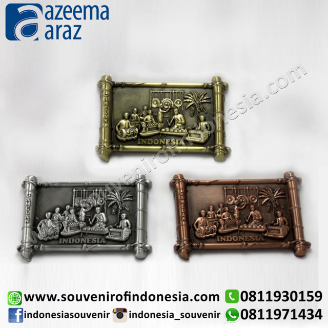 Souvenir Indonesia Magnet Logam Gamelan (Gamelan Indonesia Metal Fridge Magnet)