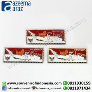 Souvenir Indonesia Magnet Logam Peta Berwarna (Metal Fridge Magnet: Indonesia's Flag & Map)
