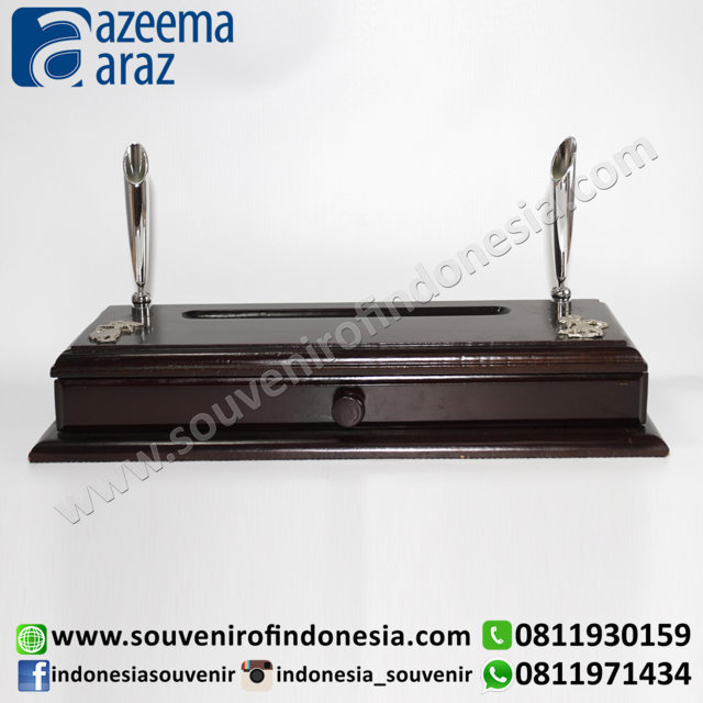 Souvenir Indonesia Memo Laci Wayang Logam Perak Exclusive (Indonesia Wooden Exclusive Souvenir Puppet Pull Up Memo Drawer)