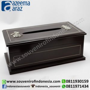 Souvenir Indonesia Tempat Tisu Meja Kayu Wayang Logam Exclusive (Indonesia Wooden Exclusive Souvenir Desk Tissu Box)