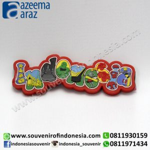 Souvenir Magnet Karet INDONESIA Merah (Red INDONESIA Rubber Fridge Magnet)
