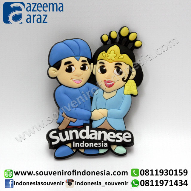 Souvenir Magnet Karet Pengantin Sunda Indonesia (Indonesia Sundanese Couple Rubber Fridge Magnet) 2
