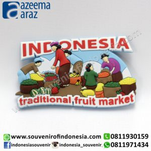 Souvenir Magnet Karet Traditional Fruit Market Indonesia (Indonesia Traditional Fruit Market Rubber Fridge Magnet)