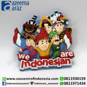 Souvenir Magnet Karet We Are Indonesian Bendera (We Are Indonesian Flag Rubber Fridge Magnet)