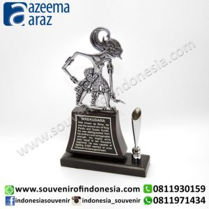 Souvenir Wayang Logam Pen Holder Premium (Metal Puppet Souvenir Premium Pen Holder)